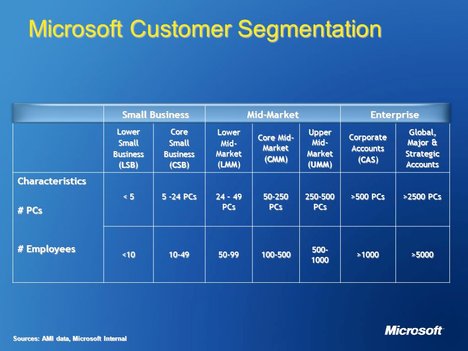 microsoft market segmentation In the market focused on providing solutions for small and mid-sized businesses, our microsoft dynamics products compete with vendors such as infor, sage, and netsuite salesforcecom's on-demand crm offerings compete directly with microsoft dynamics crm online and microsoft dynamics crm's on-premise offerings.