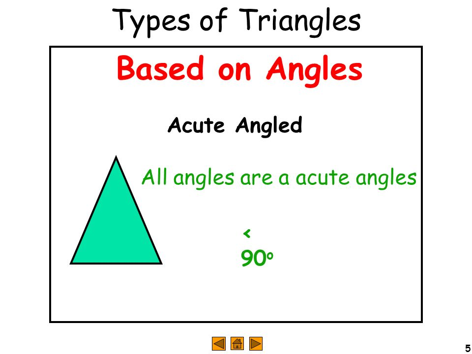 Based on Angles Types of Triangles Acute Angled