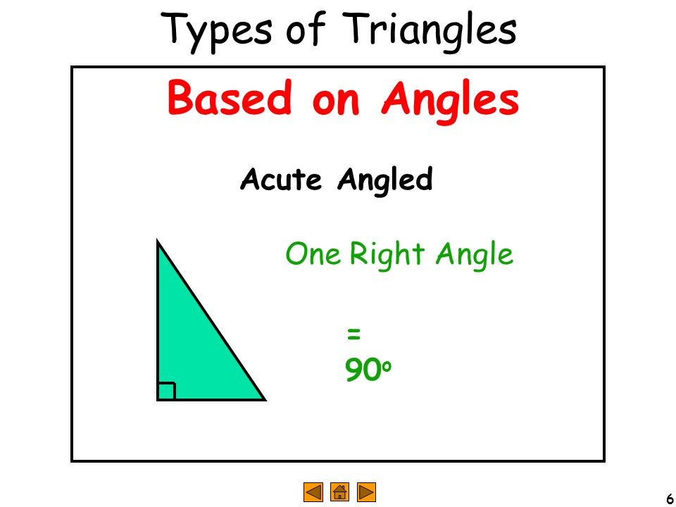 Types of Triangles Based on Angles Acute Angled One Right Angle = 90o