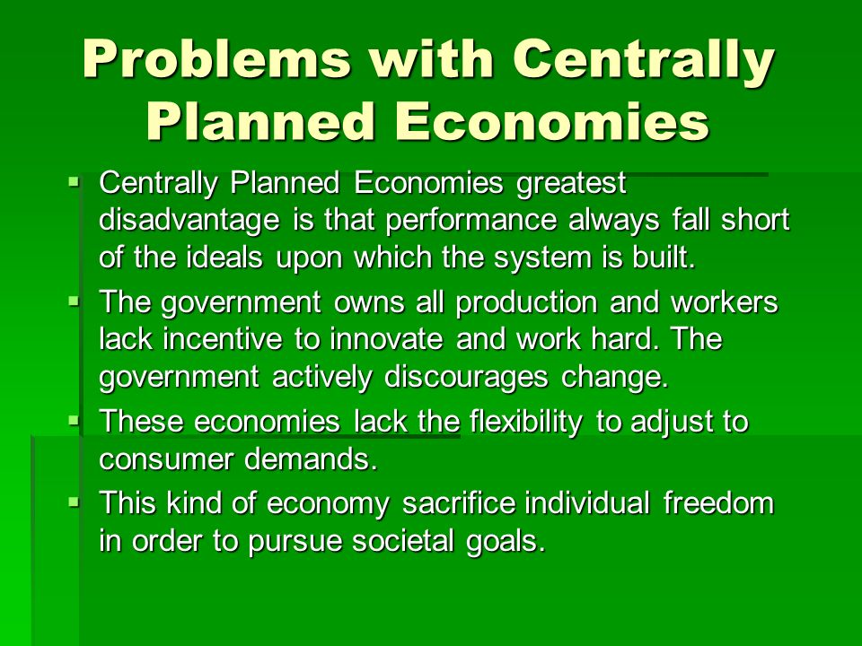 supply and demand and centrally planned Centrally planned economy- centrally planned economy is that type of economy which is under the control of governmentit talks about the welfare of societythose goods and services are produced.