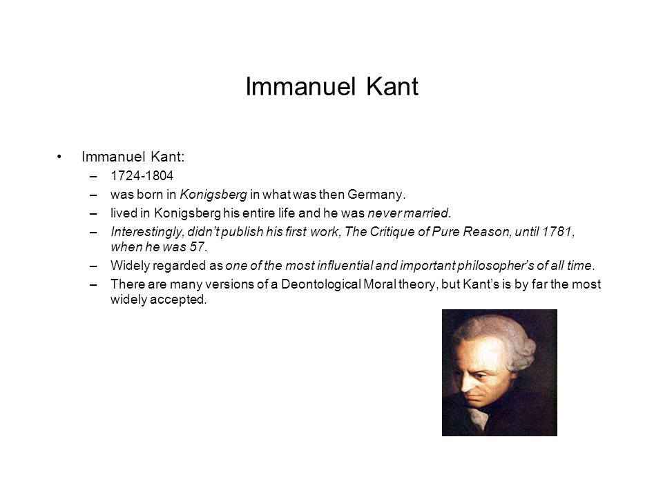an introduction to the life of immanuel kant Immanuel kant's introduction ah, immanuel kantthere's a name to strike fear into the bravest of hearts we picture a nice, unmarried old man sitting in a stately drawing room, listening to.