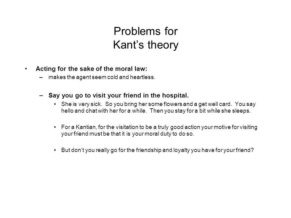 an introduction to the analysis of kants moral theory Introduction to moral theories and principles that inform ethical  class of teleological moral theory according to consequentialist  deontological theory is .