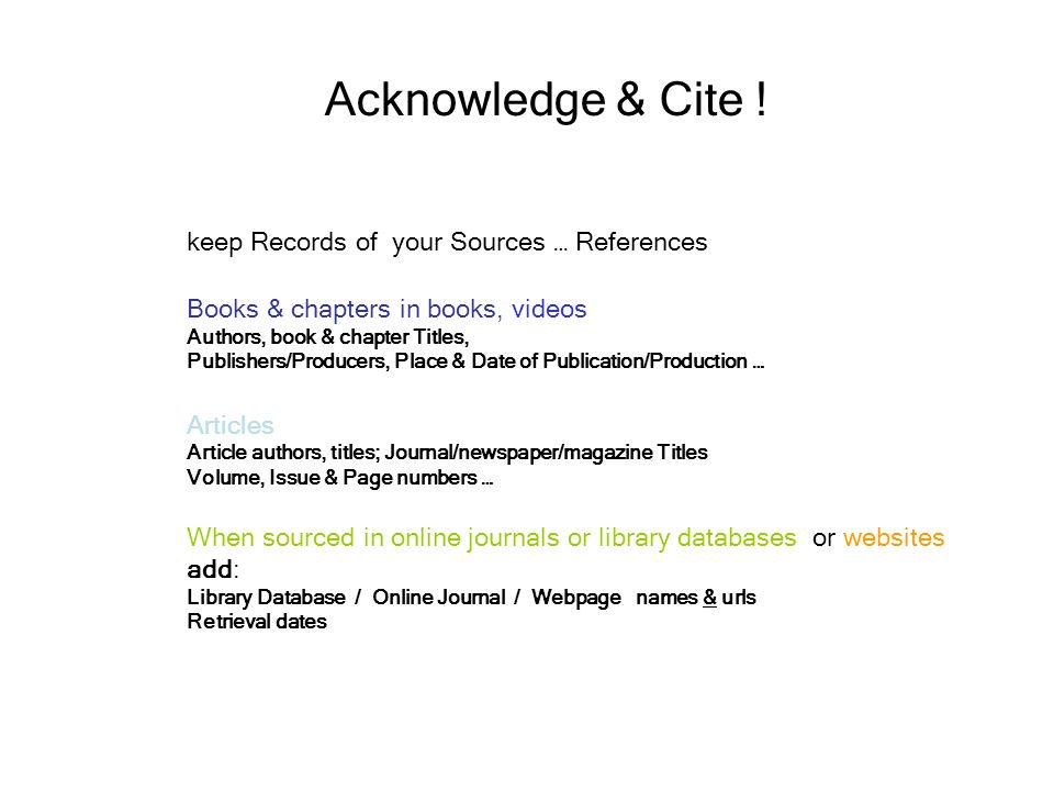 Acknowledge cite keep records of your sources references ppt acknowledge cite keep records of your sources references ccuart Gallery