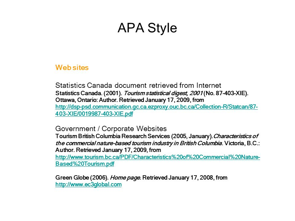 how to write references in apa format for websites