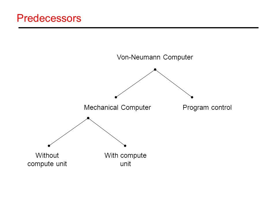 Predecessors Von-Neumann Computer Mechanical Computer Program control