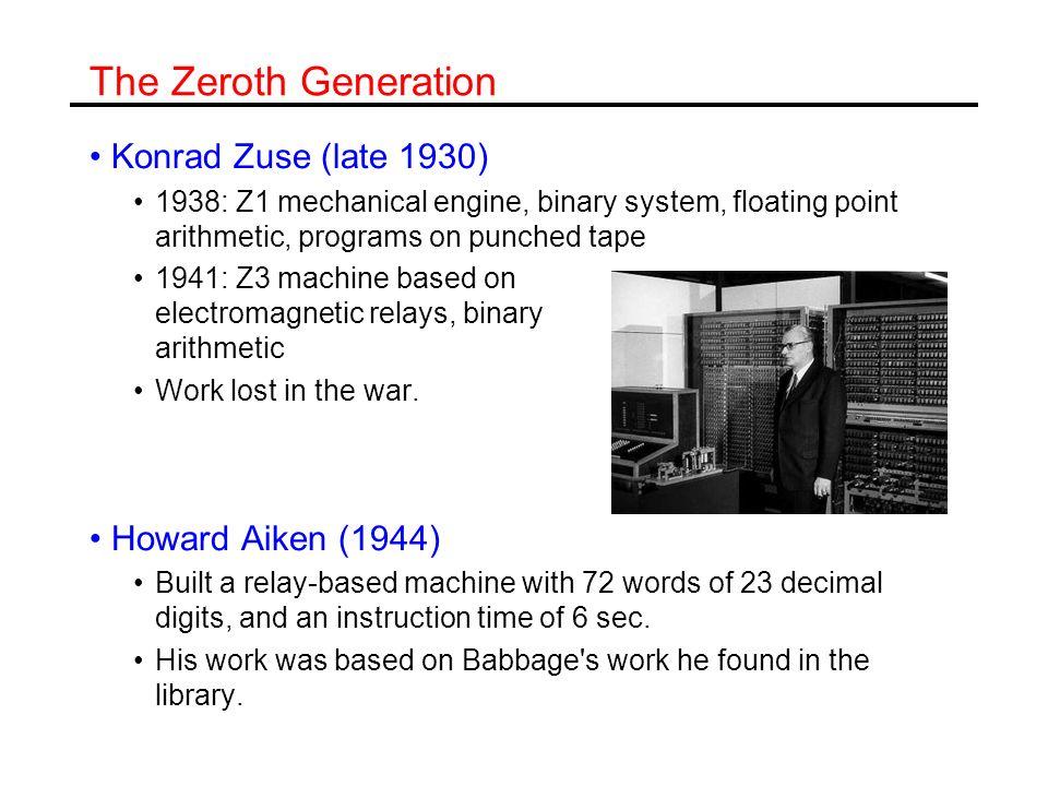 The Zeroth Generation Konrad Zuse (late 1930) Howard Aiken (1944)