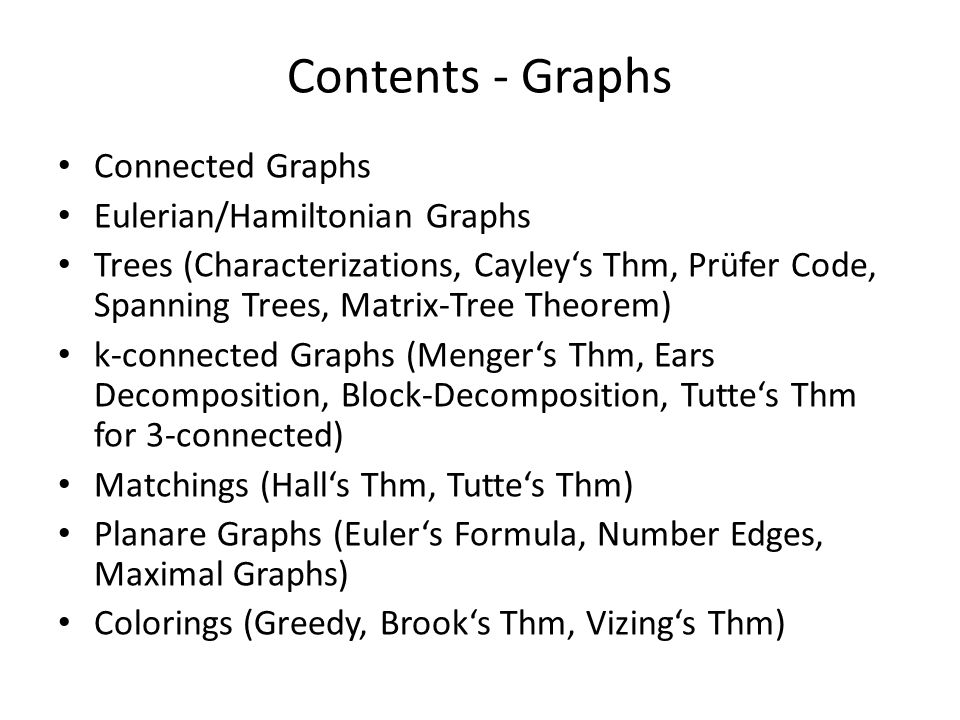 Contents - Graphs Connected Graphs Eulerian/Hamiltonian Graphs