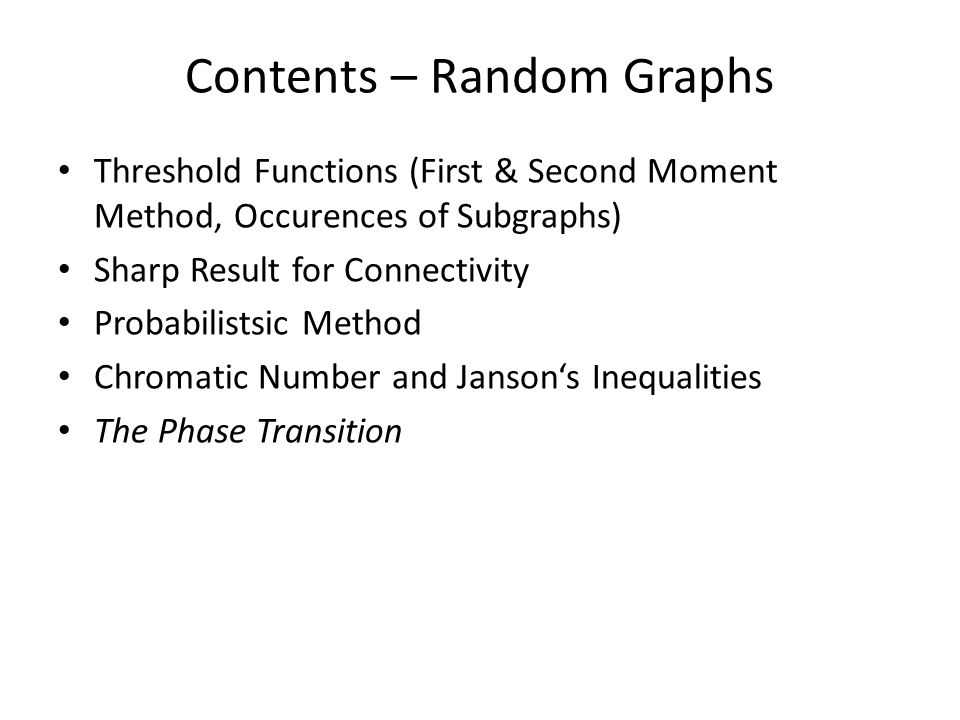 Contents – Random Graphs