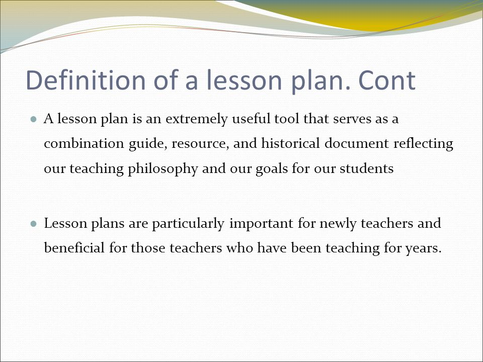 Introduction Definition Of A Lesson Plan It Can Be Simple As A