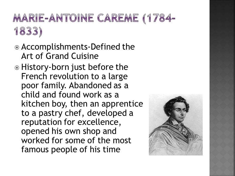 history of auguste escoffier and marie careme essay Marie antoine careme careme was a profound influence on auguste escoffier you are the future and you are history in the making.