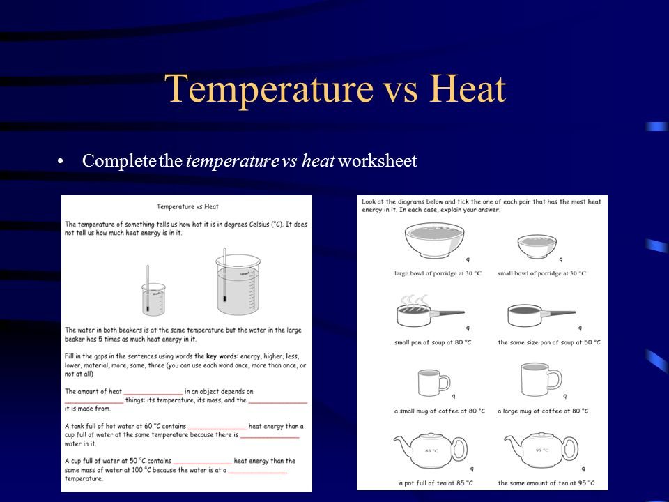 Temperature Thermal Energy ppt download – Heat and Temperature Worksheet