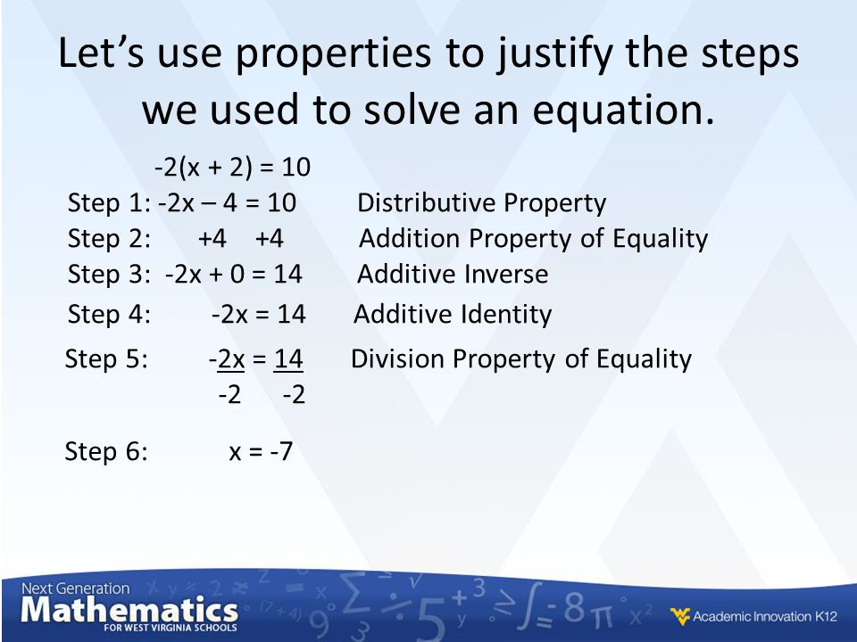 solving linear equations with justification of properties ppt download. Black Bedroom Furniture Sets. Home Design Ideas