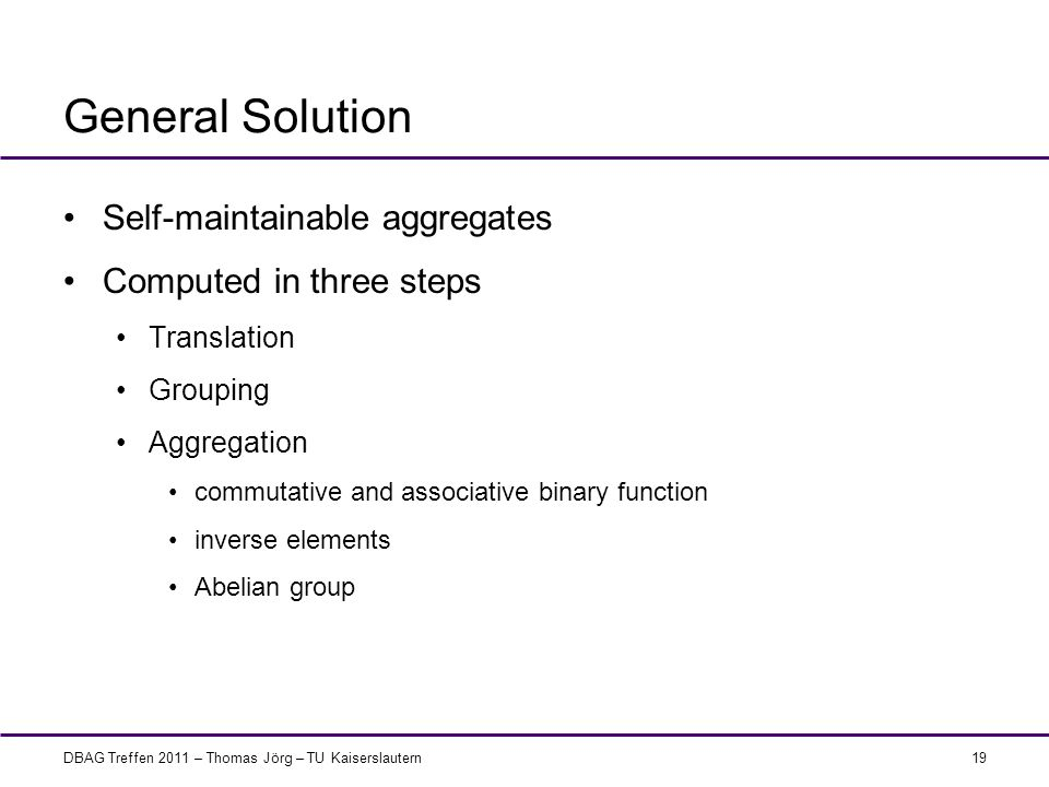 General Solution Self-maintainable aggregates Computed in three steps