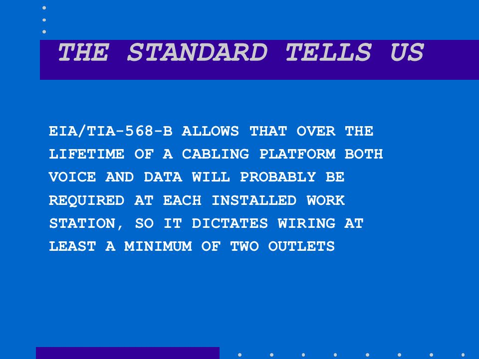 THE+STANDARD+TELLS+US+EIA%2FTIA 568 B+ALLOWS+THAT+OVER+THE copper and fiber review ppt video online download tia-570-b wiring diagram at crackthecode.co
