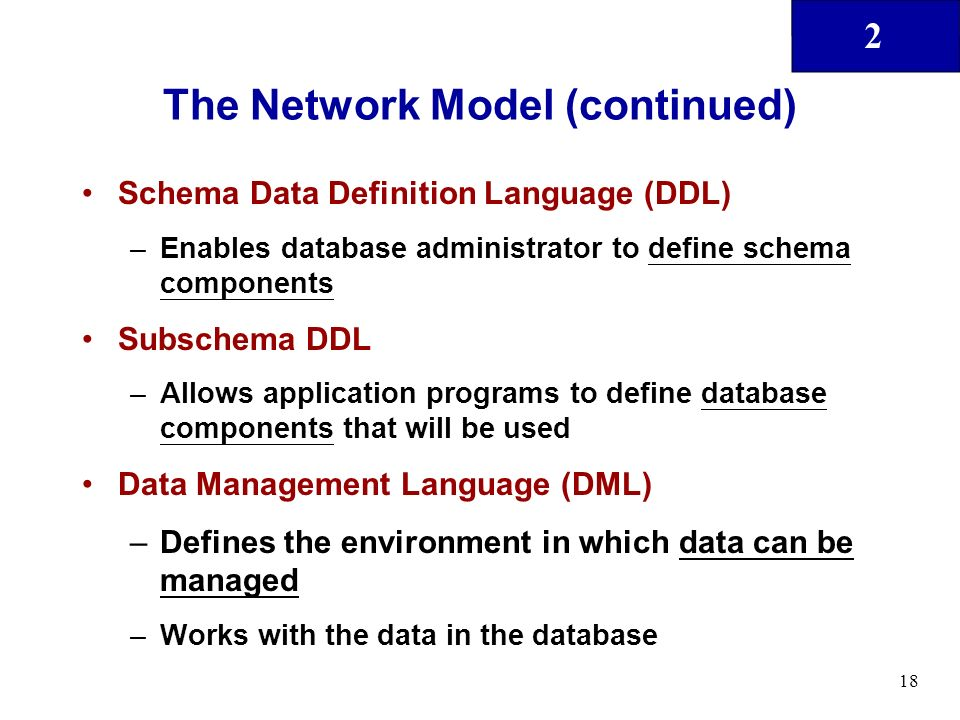 a definition of a network database Several basic types of database models have been developed, including flat,  hierarchical, network and relational such models describe not.