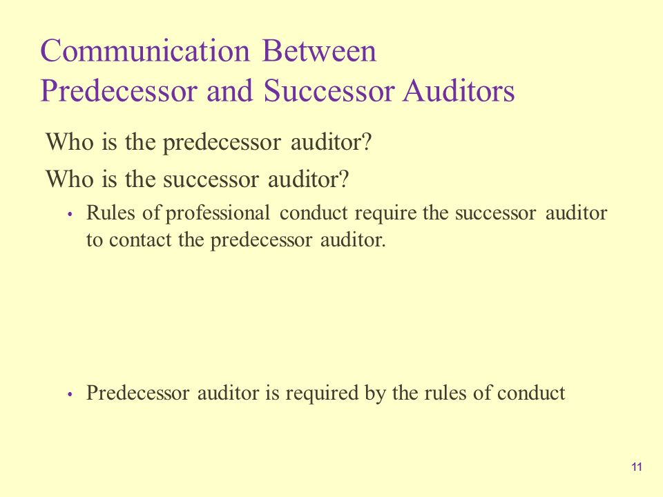 communication between predecessor and successor auditor Study flashcards on auditing final at cram communication between the predecessor and communication between the predecessor and successor auditor is.