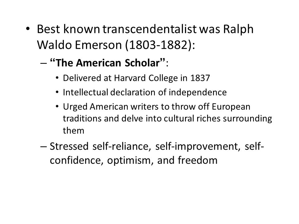 in the essay self-reliance emerson apex According to the virginia commonwealth university, emerson wrote the essay after delivering a controversial speech at the harvard divinity school modern critics of self-reliance have said that it puts forth an unrealistic portrait of a very privileged lifestyle that cannot be shared by those who don't have the advantages.