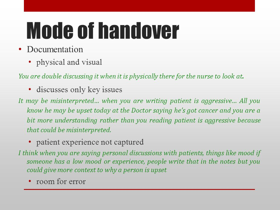 The role of end of shift verbal handover ppt download mode of handover documentation physical and visual pronofoot35fo Gallery