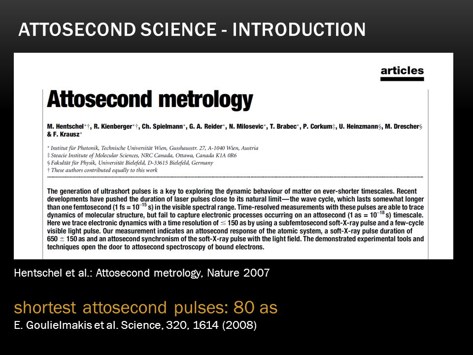 Attosecond science - Introduction