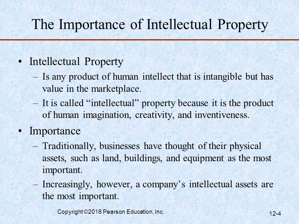importance of intellectual property Intellectual property is a basket of different rights there is no precise definition of intellectual property but it can be divided into the areas.