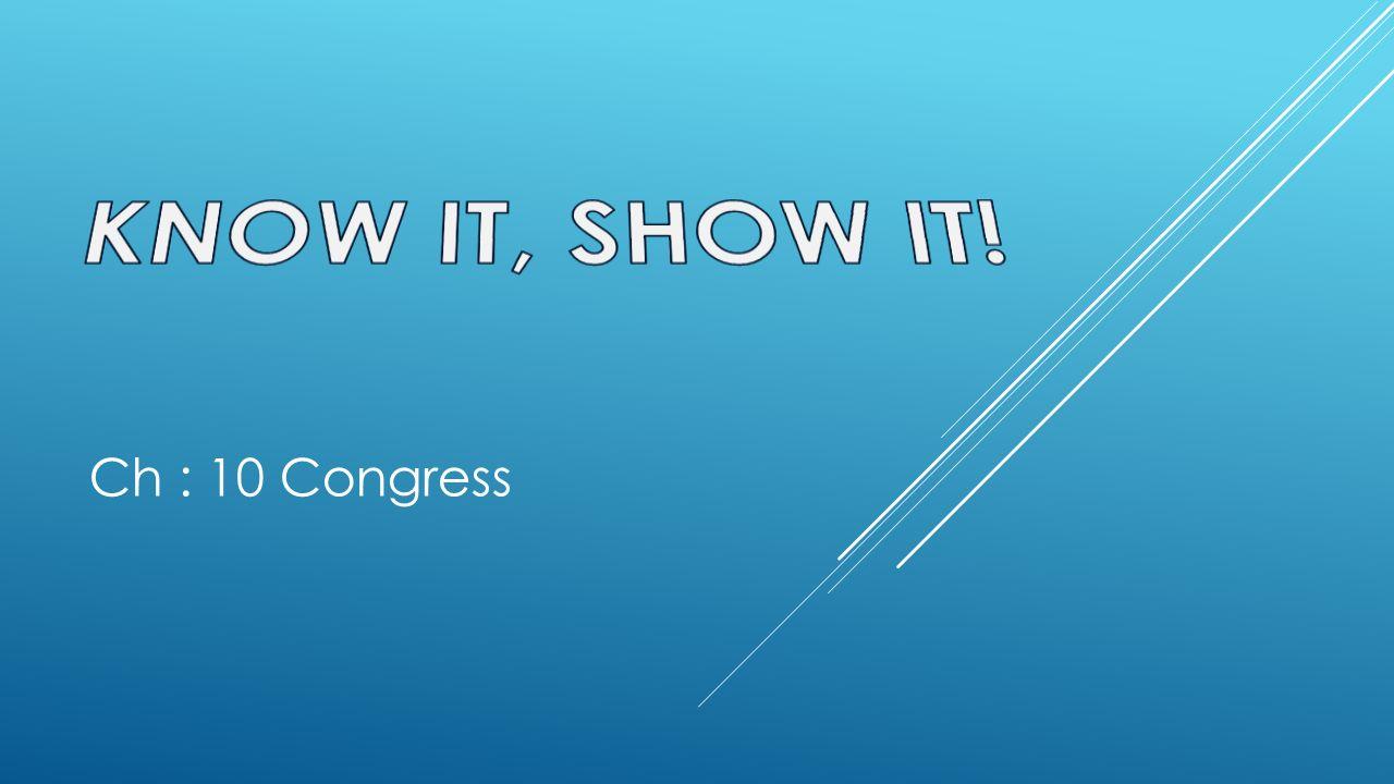 KNOW IT, SHOW IT! Ch : 10 Congress