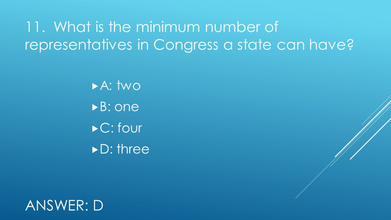 11. What is the minimum number of representatives in Congress a state can have