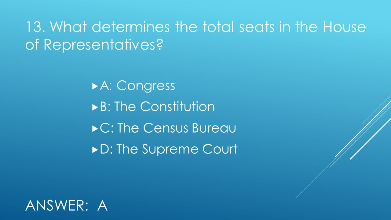 13. What determines the total seats in the House of Representatives