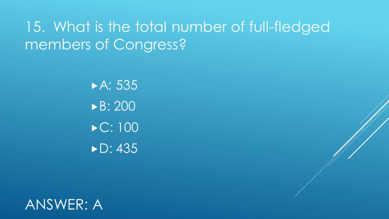 15. What is the total number of full-fledged members of Congress