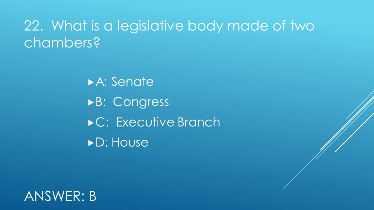 22. What is a legislative body made of two chambers