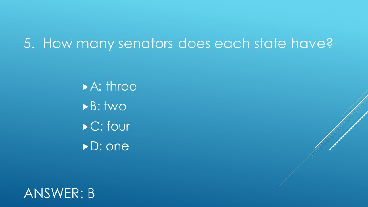 5. How many senators does each state have