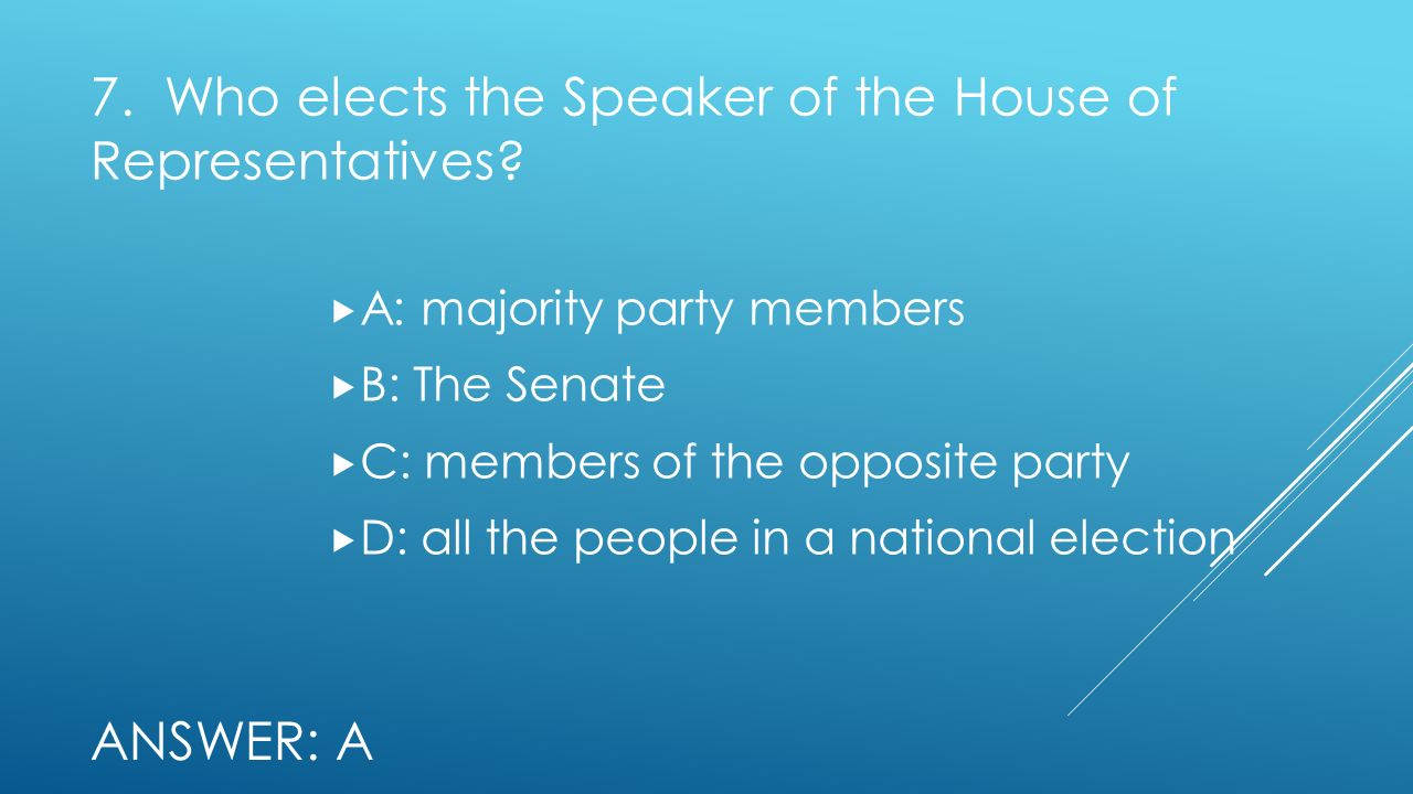 7. Who elects the Speaker of the House of Representatives