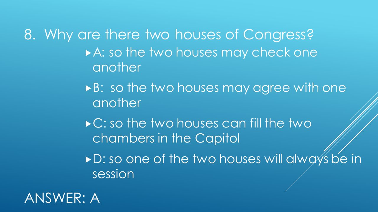 8. Why are there two houses of Congress