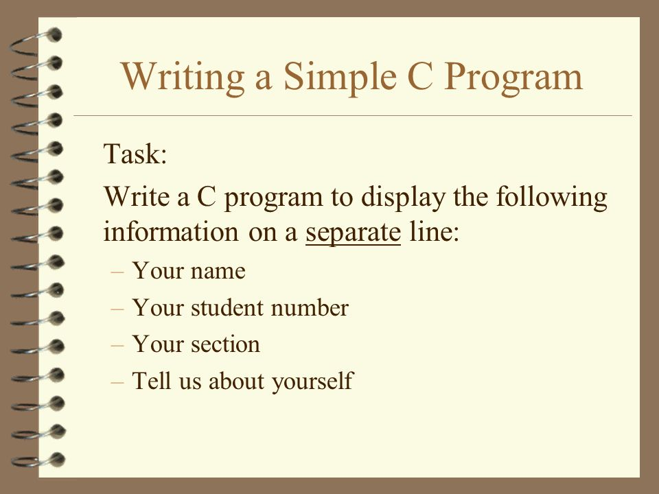 Write a program on c