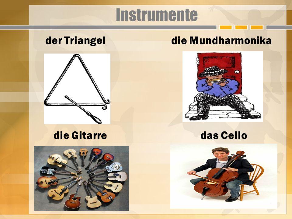 Instrumente der Triangel die Mundharmonika die Gitarre das Cello