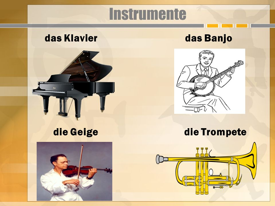 Instrumente das Klavier das Banjo die Geige die Trompete
