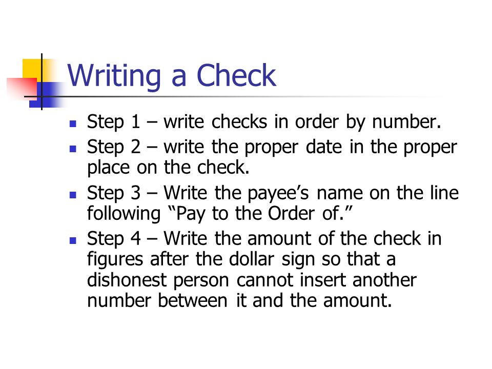 steps to write a check