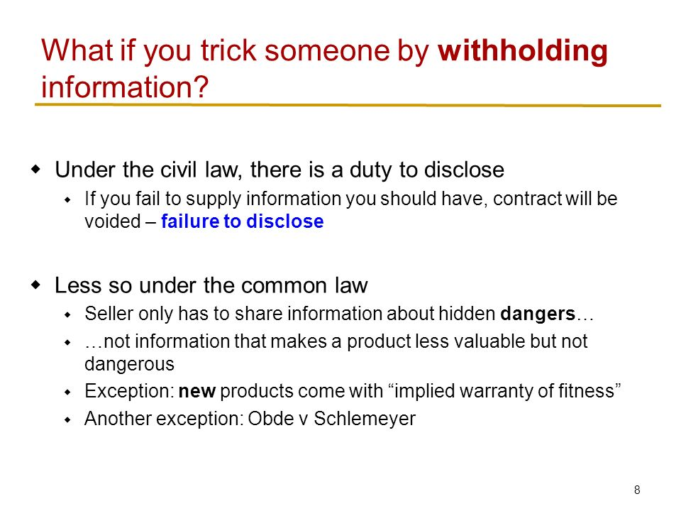 Duty to disclose information