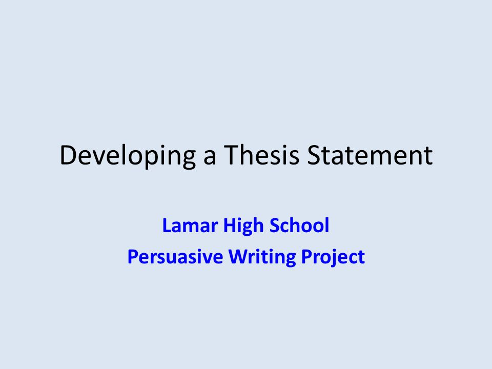 developing the thesis statement The thesis statement is a vital part of your speech in this lesson, learn how to create a thesis statement and identify problems in existing.