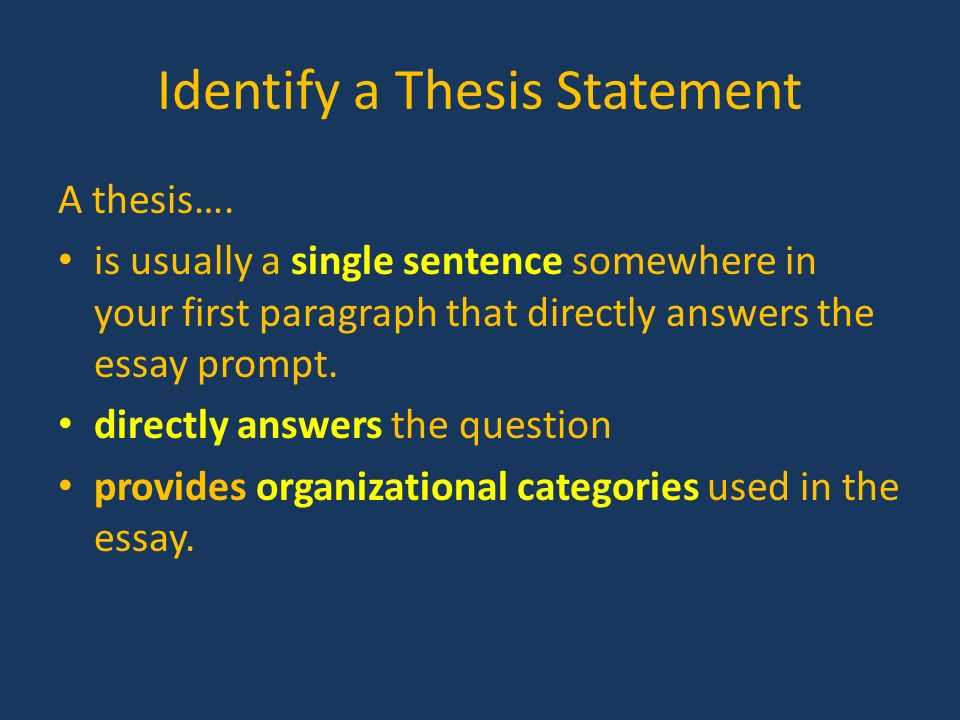 directly stated thesis The thesis sentence directly states the main point of the entire essay four from cosu 0300 at collins.