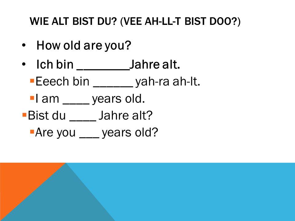 Wie alt bist du (Vee ah-ll-t bist doo )