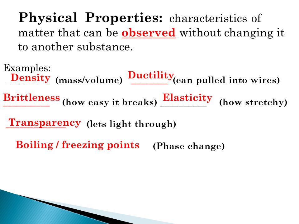 Image Gallery Of Examples Of Physical Property