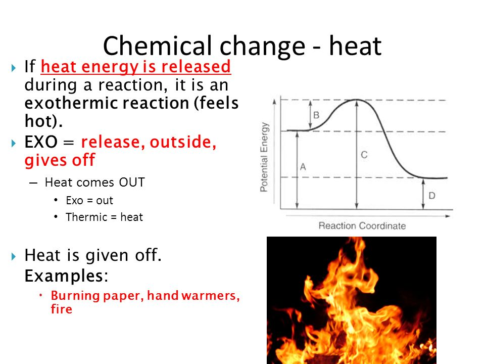 the heat energy given out essay If the products contain less energy than the reactants, heat is released or given out to the surroundings and the change is called an exothermic reaction (exothermic energy transfer, exothermic energy change of the system).