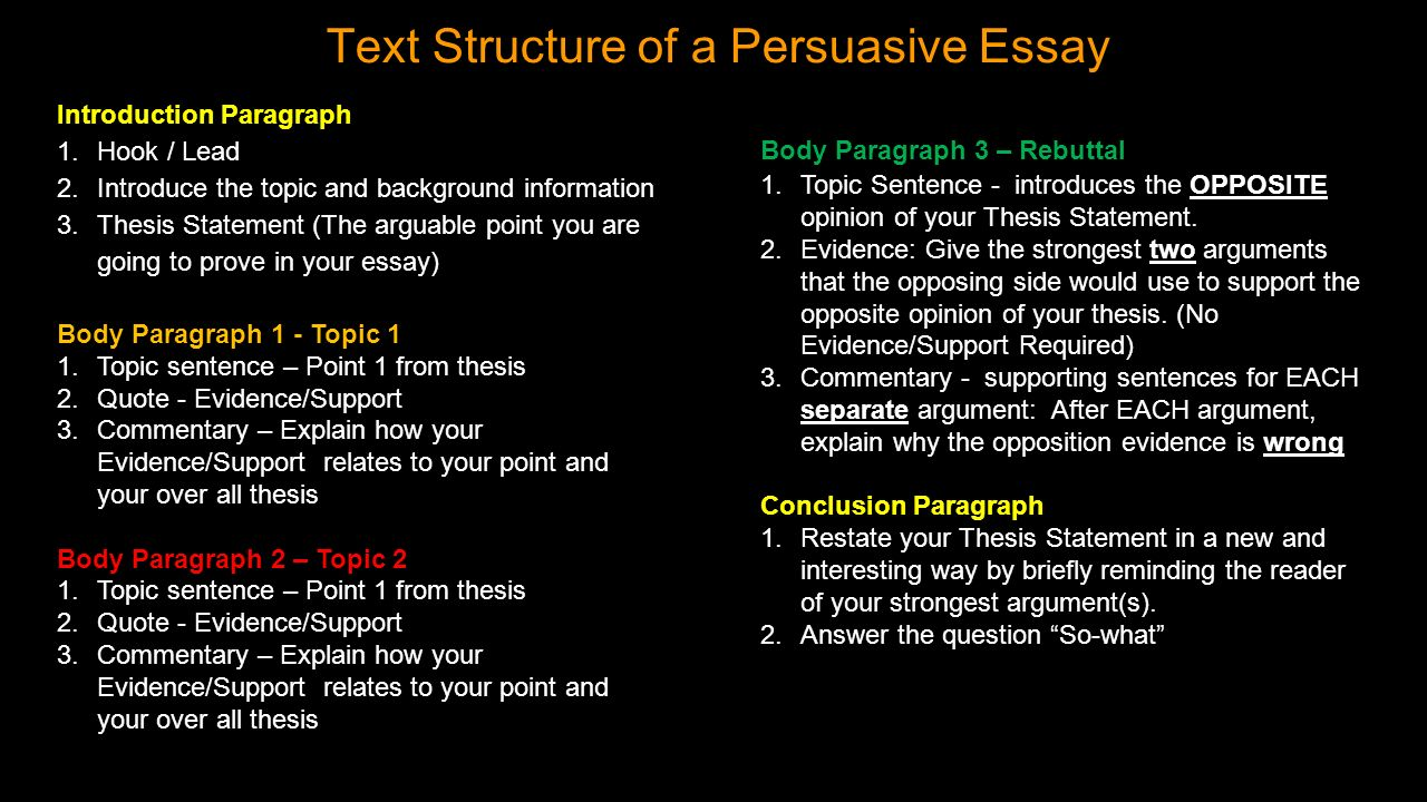 Example Of A Thesis Statement For An Essay Text Structure Of A Persuasive Essay Essay On Science And Society also Health Needs Assessment Essay The Persuasive Essay  Ppt Video Online Download How To Write An Essay Thesis