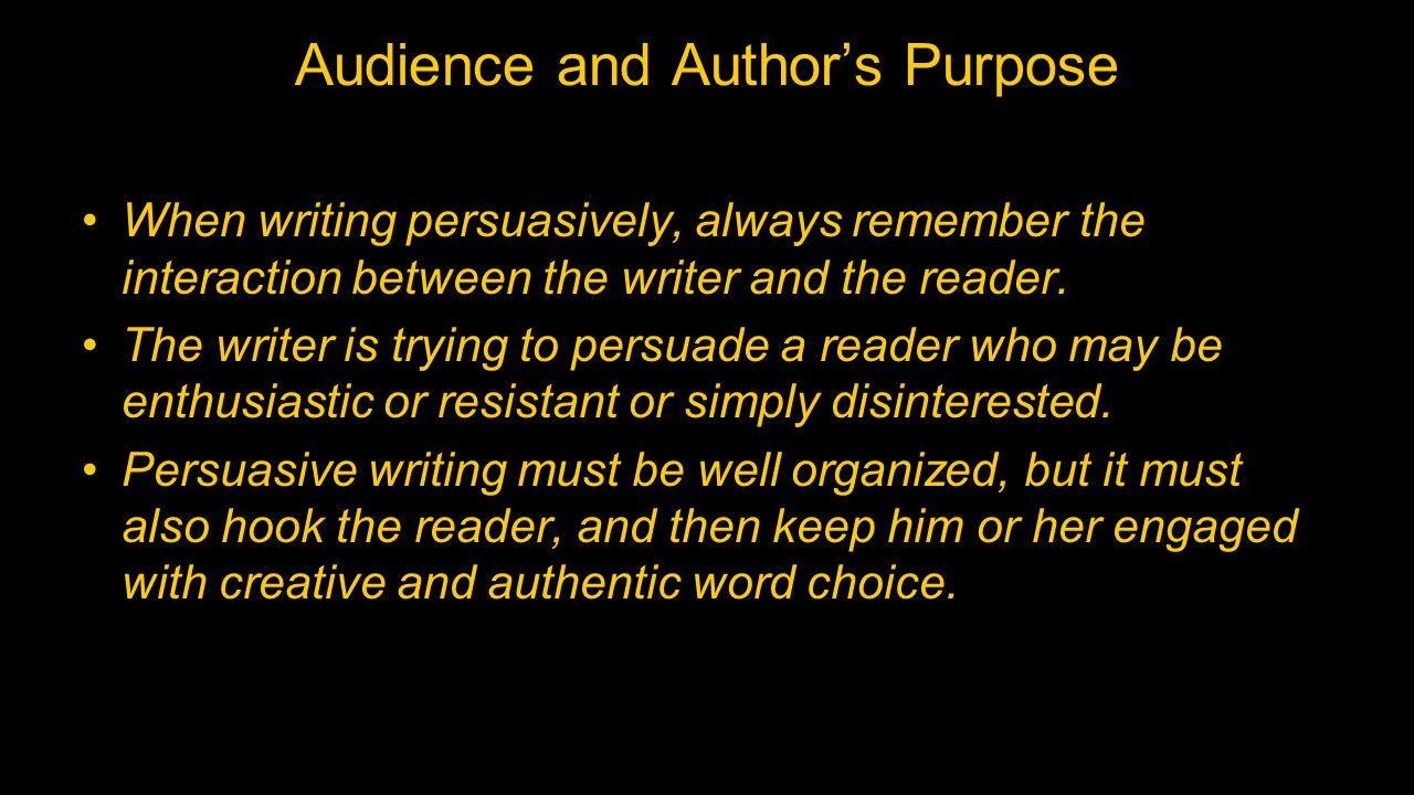 purpose audience thesis Let us write or edit the essay on your topic explain the importance of purpose,  audience, tone, and content in academic writing with a personal 20% discount.