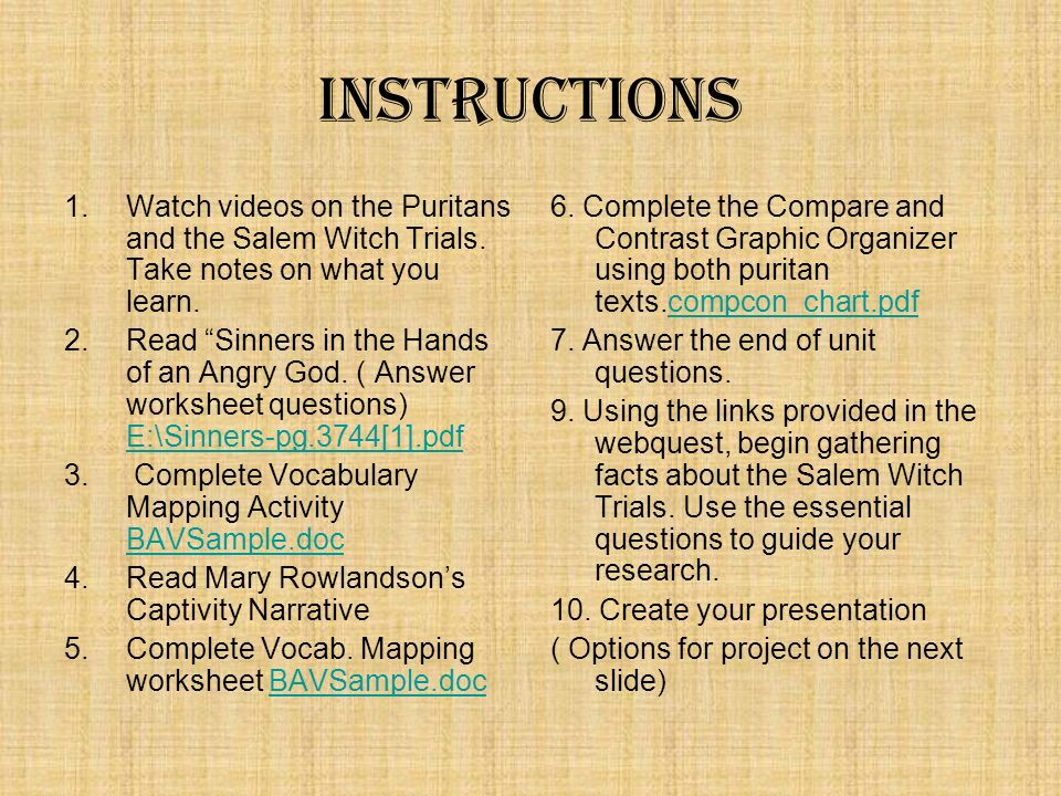 Puritan Literature and Thought ppt download – Salem Witch Trials Worksheet