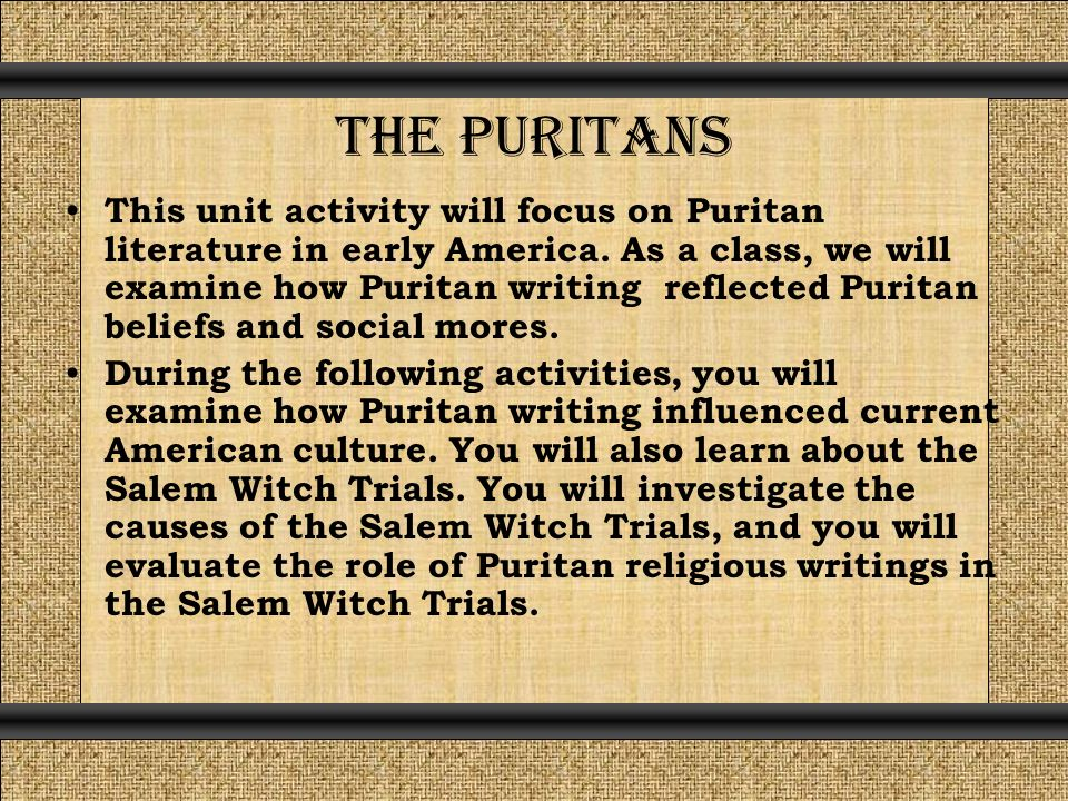 puritan influence on american culture Puritan work ethic remains a model of american work ethic and it became a staple of american idealism thesis statement although the puritans ideas of self-government, education, religion, and self-reliance have been modified since the 1600s, they influenced and helped shape american culture in a positive way.