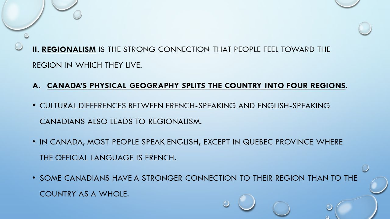 Regionalism in terms of language between