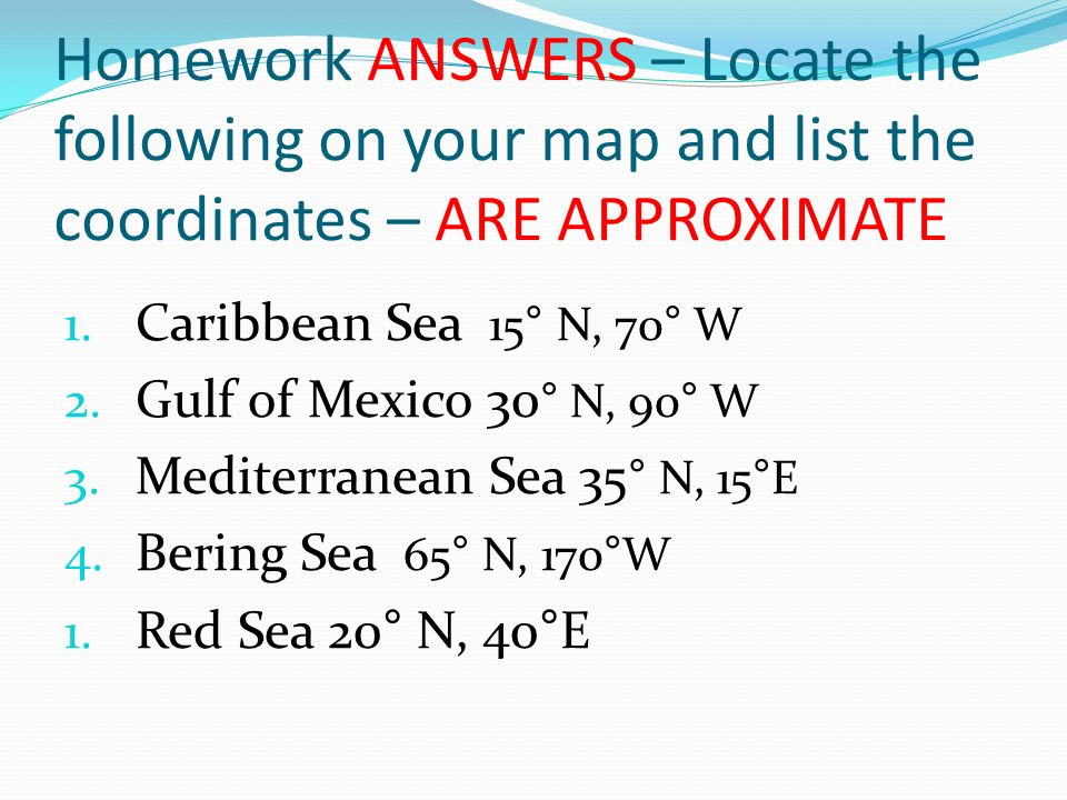 Opening assignment list 3 things you already know about marine homework answers locate the following on your map and list the coordinates are approximate sciox Gallery