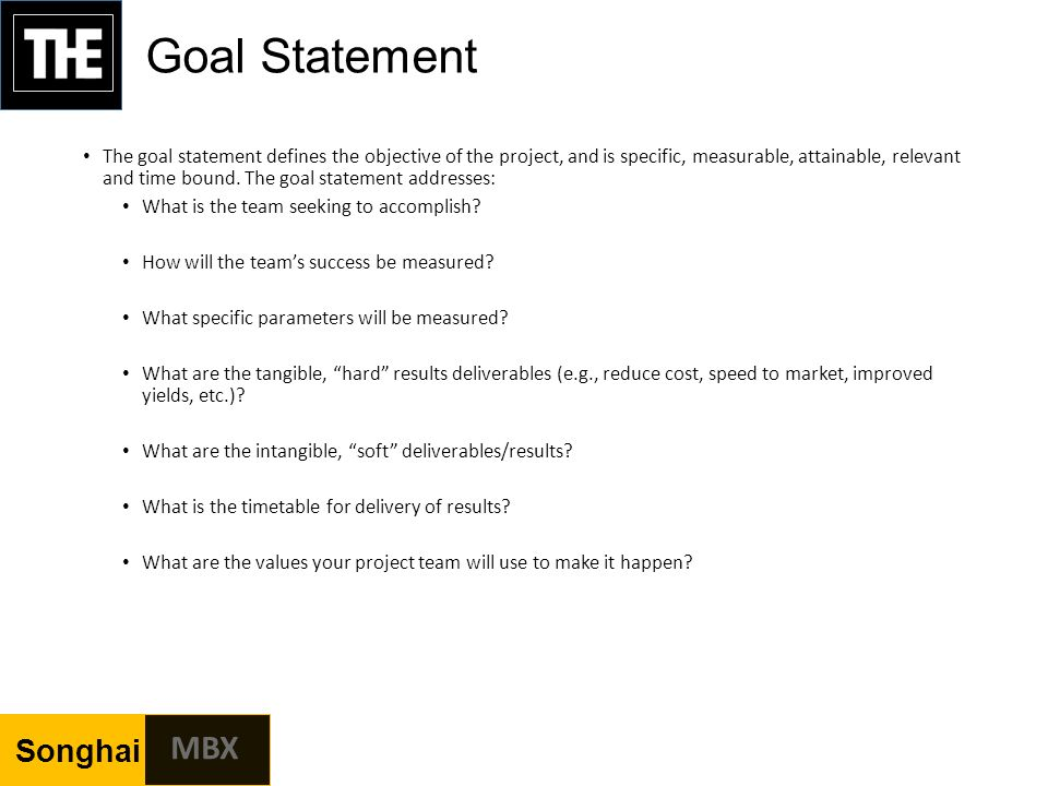 how to write a goal statement for a project
