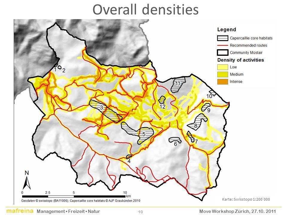 Overall densities Karte: Swisstopo 1:200`000